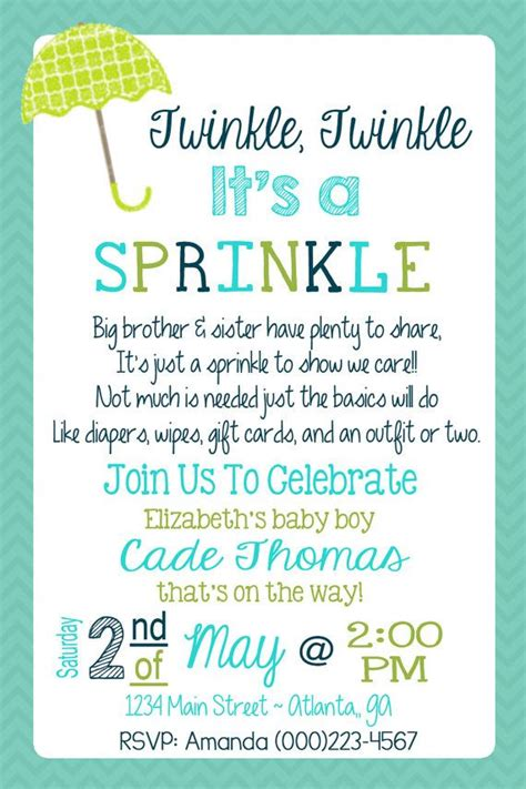 2nd baby sprinkle invite wording