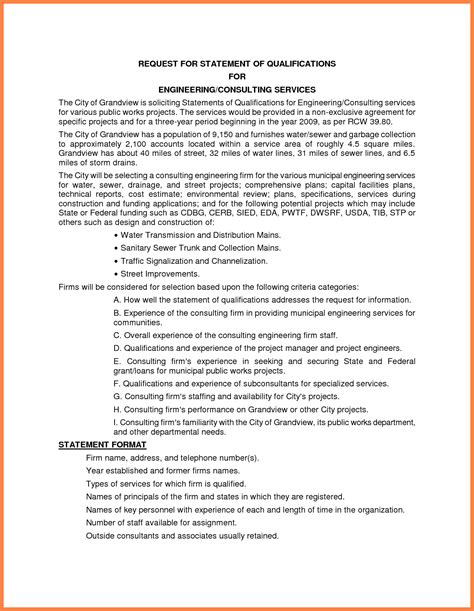 personal qualifications statement sle statement of