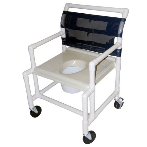 24 wide shower commode chair with extended front and