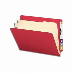smead 26838 red end tab classification folder 2 dividers With letter file dividers
