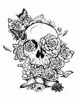 Skull Roses Coloring Adult Rose Pages Tattoo Adults Tatoo sketch template