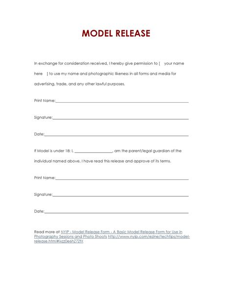 21799 photography model release form basic model release form by in progress issuu