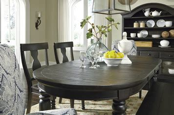 sharlowe oval dining room extension table  charcoal gray