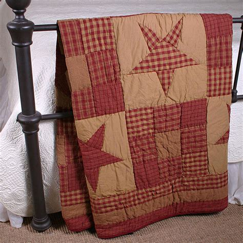 Ninepatch Star Quilted Throw: Primitive Home Decors