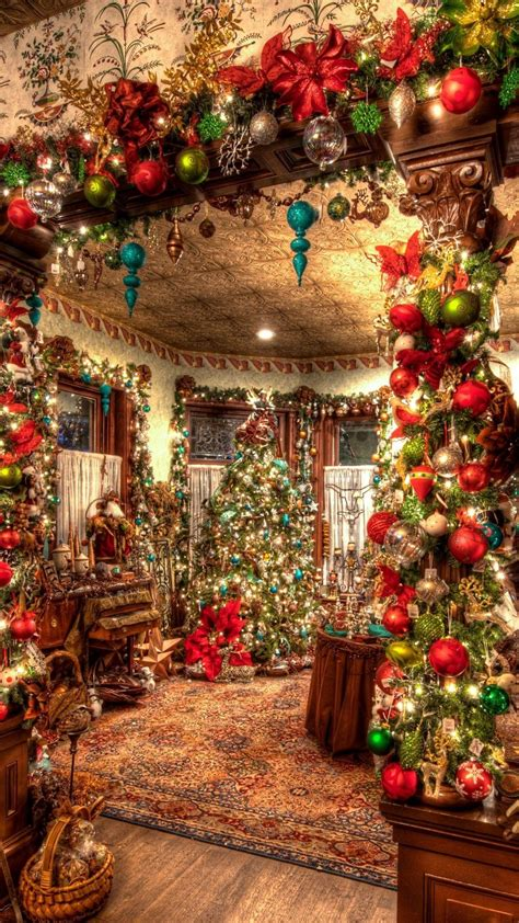 christmas decorations big room tree android wallpaper