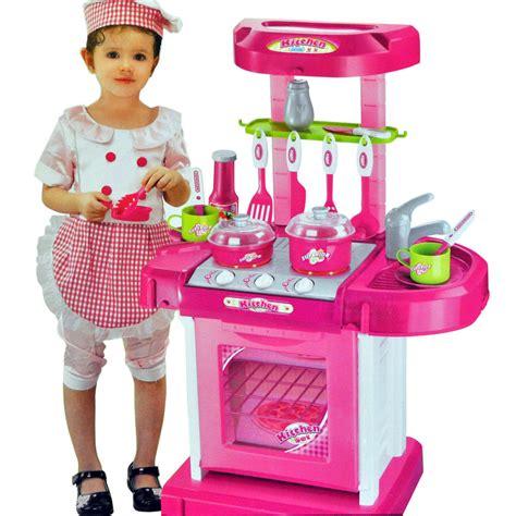 kitchen set toys portable pink electronic children kitchen cooking