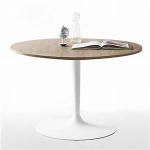 Table Ronde Bois Metal : table ronde design plateau bois pied blanc cdc design ~ Teatrodelosmanantiales.com Idées de Décoration