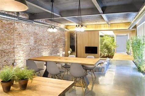 wood dining table pendant lighting living room loft style home in terrassa spain