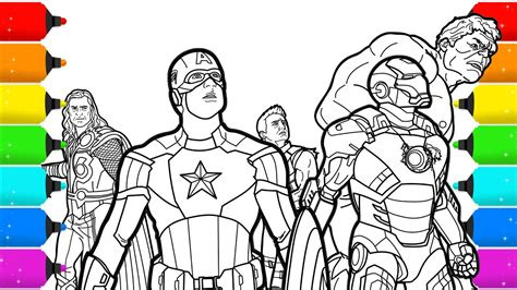 avengers superhero coloring pages youtube