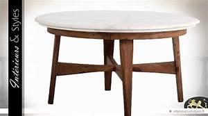 Table Basse Ronde Marbre : table basse ronde vintage en s same et marbre 88 cm int rieurs styles ~ Teatrodelosmanantiales.com Idées de Décoration