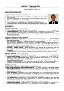 sports internship resume exles switzerland resume exle