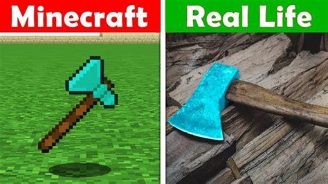 Minecraft Diamond Axe In Real Life! Minecraft Vs Real Life