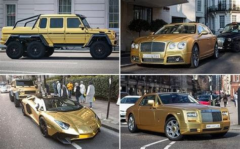 cool golden cars saudi tourist brings four gold cars worth more than 1m to