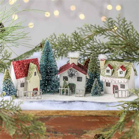 glittered miniature christmas village on sale holiday