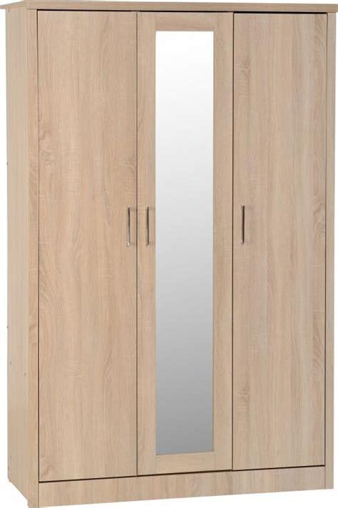 Flat Pack Wardrobes by Lisbon Light Oak 3 Door Mirrored Flat Pack Wardrobe