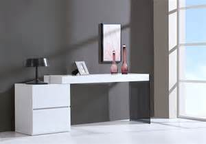 Contemporary Two Drawer White High Gloss Office Desk with