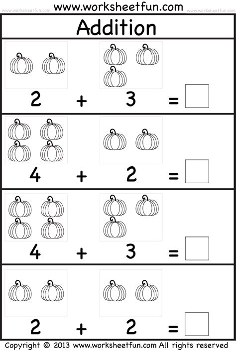 pumpkin picture addition kindergarten addition worksheet