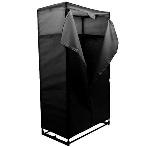 wardrobe black canvas rail bedroom storage hanging
