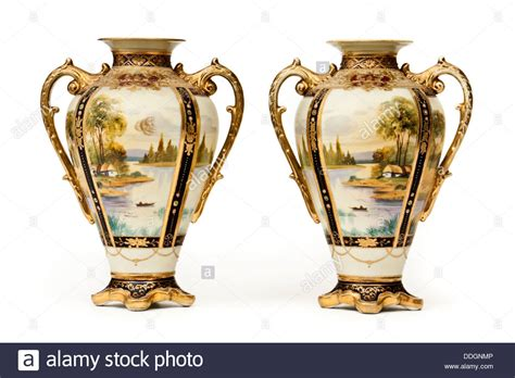 Pair Of Antique Hand Painted Ornate Vases By Noritake Of