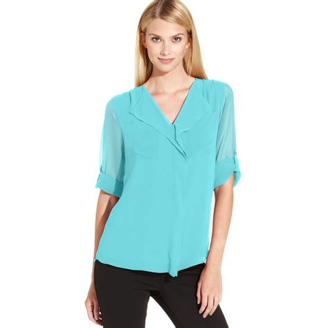 s sleeve blouses calvin klein roll tab sleeve ruffle front blouse in green