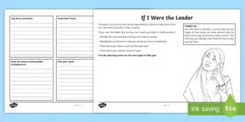 ks2 if i were the leader worksheet activity sheet world s