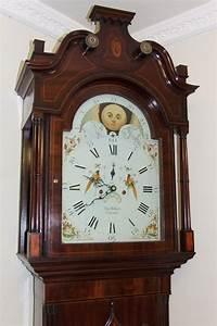 Antique, Mahogany, Rolling, Moon, Longcase, Grandfather, Clock, Thomas, Holmes, Cheadle, For, Sale