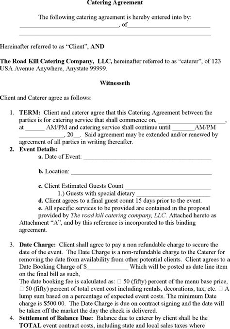 catering contract templates word excel fomats