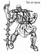 Mortal Kombat Coloring Scorpion Sheets Boys Stryker Games Template sketch template
