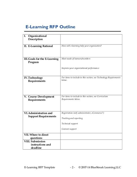 Rfp Requirements Template by Cets 2014 Devries Elearning Strategy Rfp Template