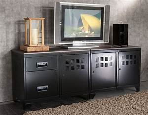 Meuble Tv Industriel : meuble tv bois m tal industriel noir ~ Teatrodelosmanantiales.com Idées de Décoration