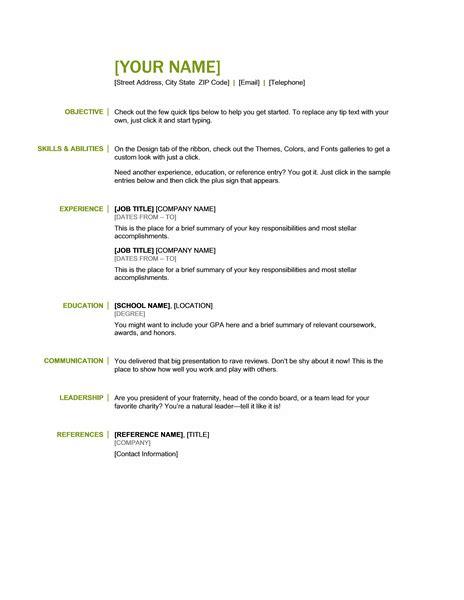 Exle Of A Basic Resume by Basic Resume Templates Resume Templets Basic Resume