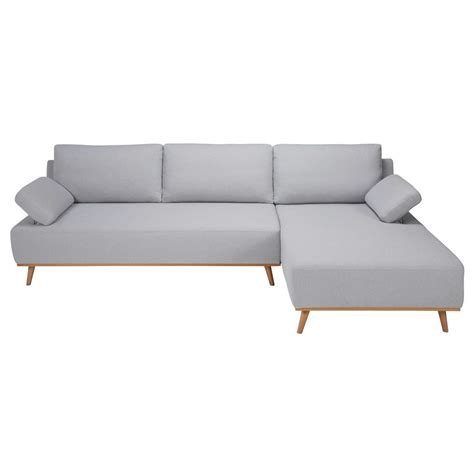 canapé droit 5 places canapé d 39 angle droit 5 places en coton gris clair