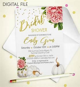 items similar to bridal shower invitation marsala With gold pumpkin wedding invitations