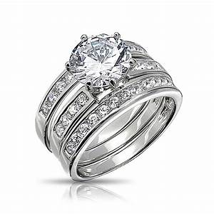round cut cz 3 piece bridal engagement ring set sterling With 3 set wedding rings