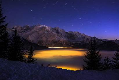 Night Mountain Winter Pc Wallpapers Forest Mountains