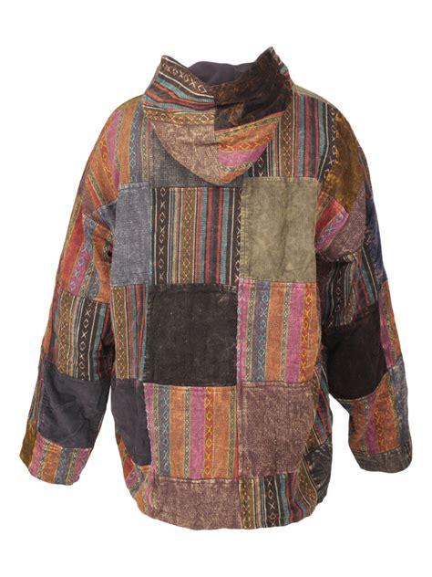 hooded zipped jacket heavy cotton patchwork jacket karma gear