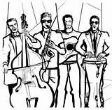 Guitar Dibujados Contrabajo Ritning Färgbok Musiker Trumpeten Spelar Teckning sketch template
