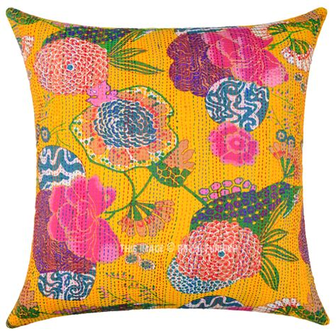 24 inch square pillow covers yellow decorative tropical kantha square throw pillow