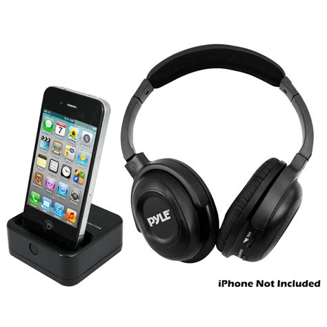 iphone headphones pyle audio pih20 wireless uhf headphones with aux and dock