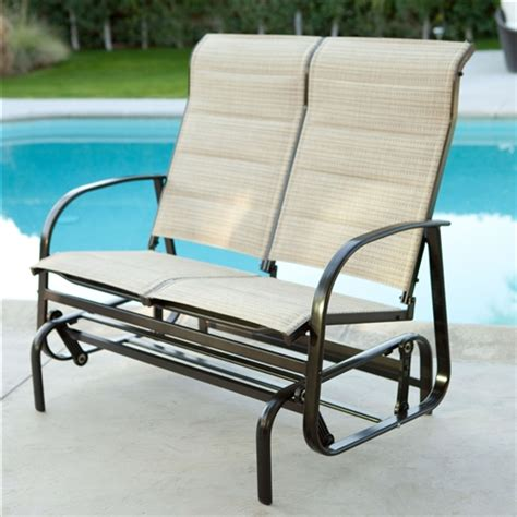 outdoor glider patio chair loveseat with padded sling