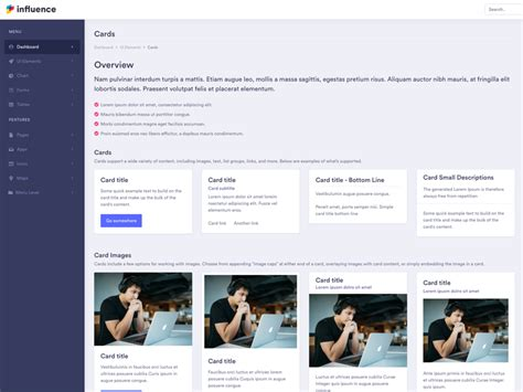 influence  modern bootstrap admin templates  web apps