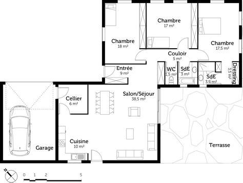 plan de maison 3 chambres plain pied plan maison plain pied avec 3 chambres et garage ooreka