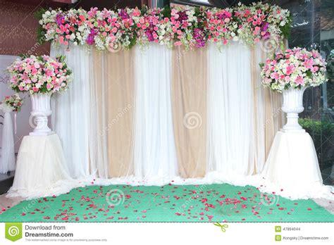 Backdrop Flowers Arrangement For Wedding Ceremony Stock