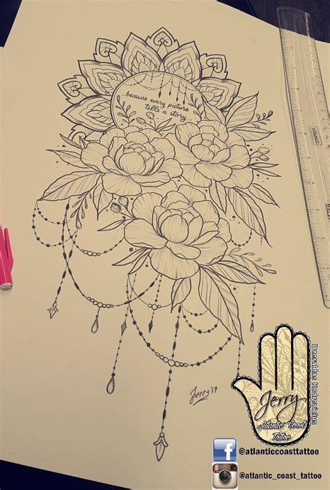 beautiful tattoo idea design   thigh peony flower rose