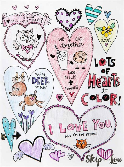adorable  heart coloring pages skip   lou