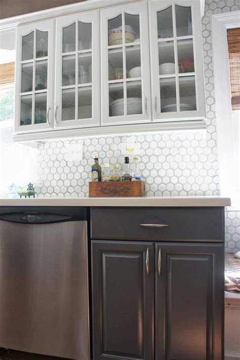 gray  white kitchen makeover  hexagon tile