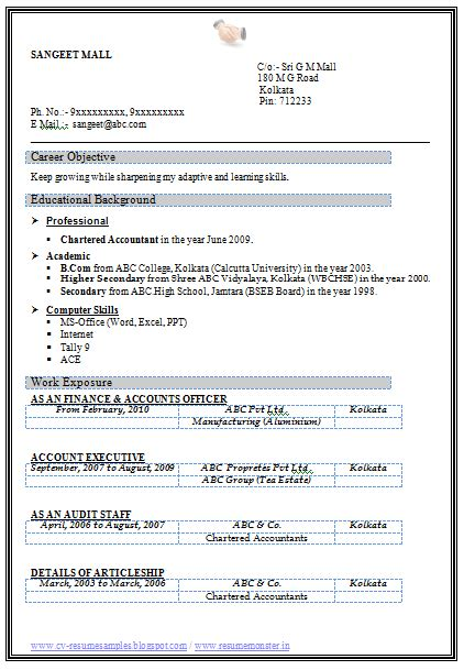 Post Resume For In Kolkata by 10000 Cv And Resume Sles With Free