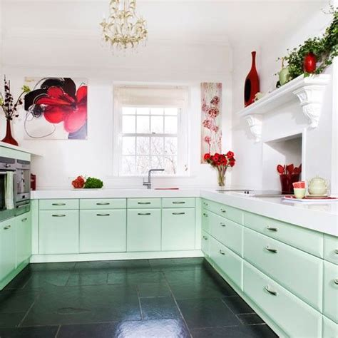 step   minty fresh country kitchen red decor