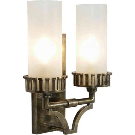 double wall light in solid brass antique finish replica
