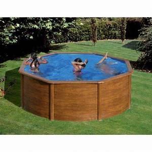 piscine acier imitation bois ronde modele pacific With piscine hors sol acier imitation bois